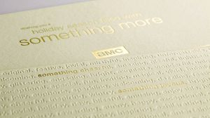 Holiday card for AMC produced with embossing and debossing in combination with foil stamping.