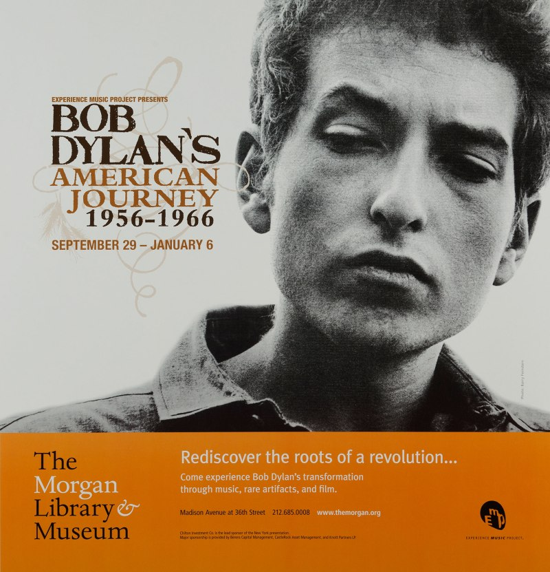 "The Morgan Library & Museum ""Bob Dylan's American Journey, 1956–1966"" Exhibit Poster"